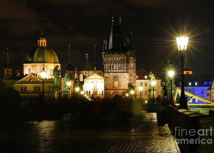 Prague Charles Bridge Greeting Card featuring the photograph Ghost City by Syed Aqueel