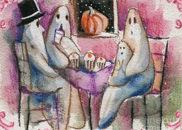 Halloween Greeting Card featuring the painting Ghost Gathering by Sylvia Pimental