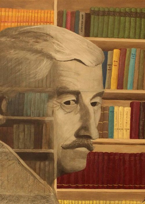 William Faulkner Greeting Card featuring the painting Ghost In The Library William Faulkner by Patrick Kelly