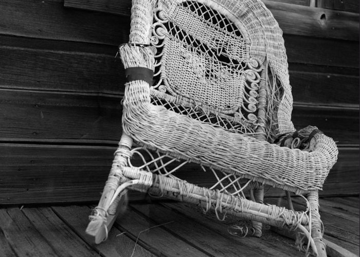 black And White Greeting Card featuring the photograph Ghost Town Chair by Bernard Barcos