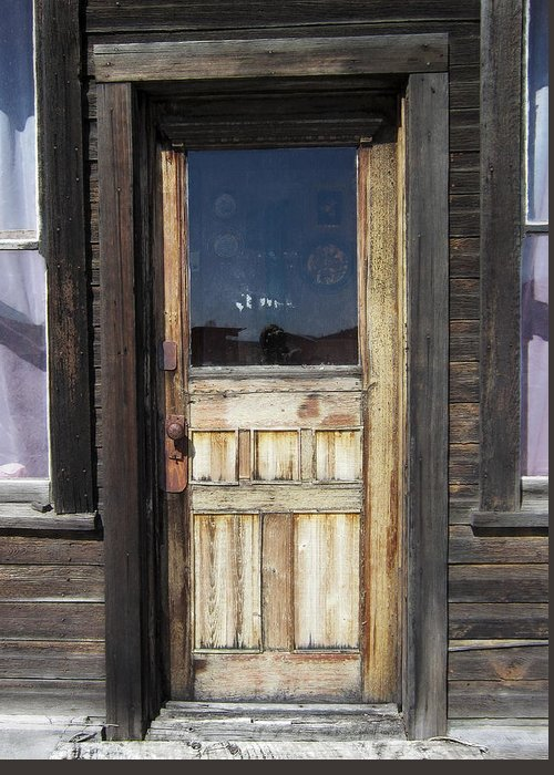Door Greeting Card featuring the photograph Ghost Town Handcrafted Door by Daniel Hagerman