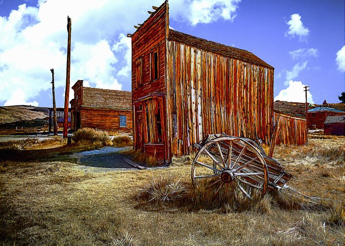 Chuck Greeting Card featuring the digital art Ghost Towns In The Southwest by Bob and Nadine Johnston