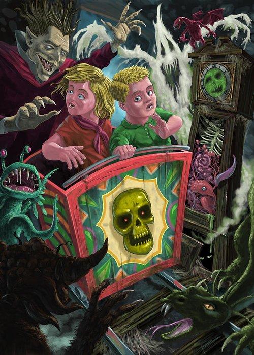 Fun Fair Ride Greeting Card featuring the painting Ghost Train Fun Fair Kids by Martin Davey
