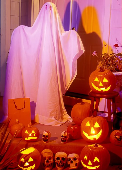 Ghost Greeting Card featuring the photograph Ghost With Pumpkins by Garry Gay