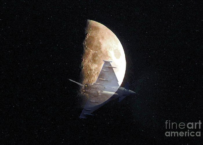 Eurofighter Greeting Card featuring the photograph Ghostly Eurofighter Against A Full Moon by Peter McHallam