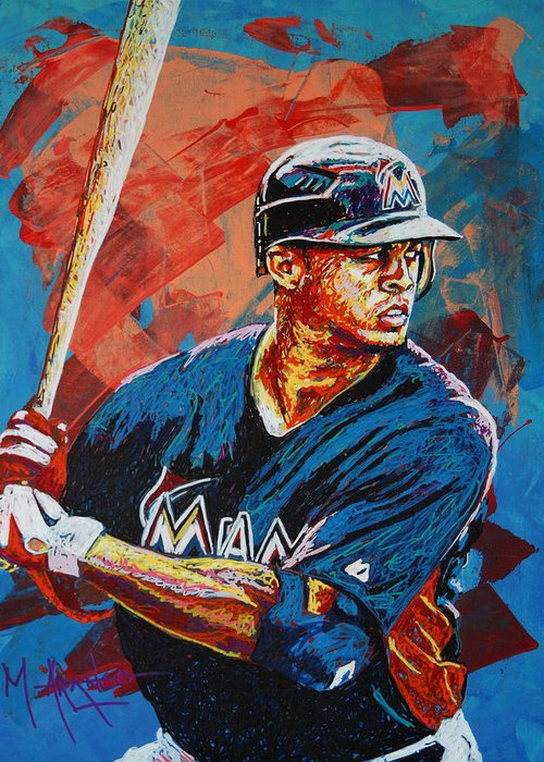 Giancarlo Stanton Greeting Card featuring the painting Giancarlo Stanton by Maria Arango