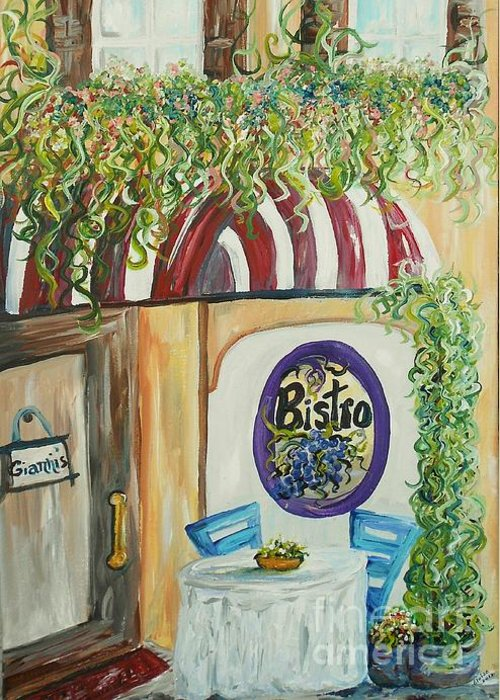 Italian Greeting Card featuring the painting Gianni's Bistro by Eloise Schneider