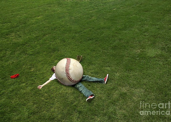 Baseball Greeting Card featuring the photograph Giant Baseball by Diane Diederich
