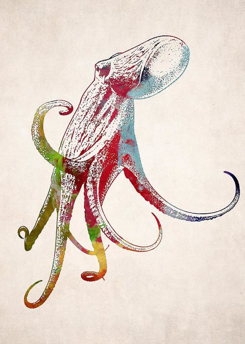 Giant octopus squid drawing greeting card for sale by world art animal greeting card featuring the digital art giant octopus squid drawing by world art prints and m4hsunfo