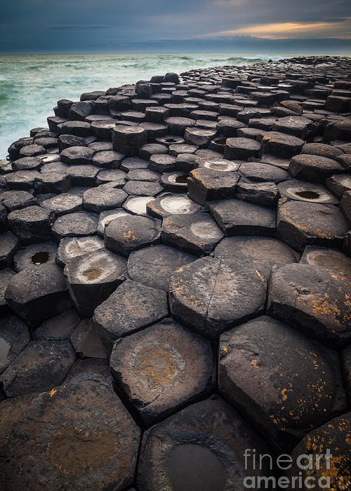 Europe Greeting Card featuring the photograph Giant's Causeway Pillars by Inge Johnsson
