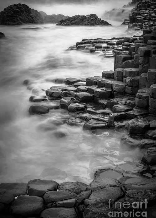 B&w Greeting Card featuring the photograph Giant's Causeway Waves by Inge Johnsson