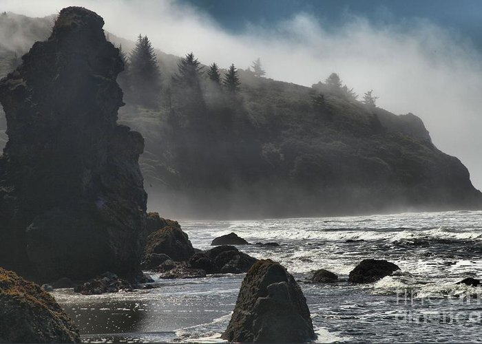 Trinidad Beach Greeting Card featuring the photograph Giants In The Fog by Adam Jewell