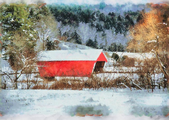 Covered Bridge-gifford Bridge Vermont By Jeff Folger Greeting Card featuring the photograph Gifford Covered Bridge In Winter by Jeff Folger