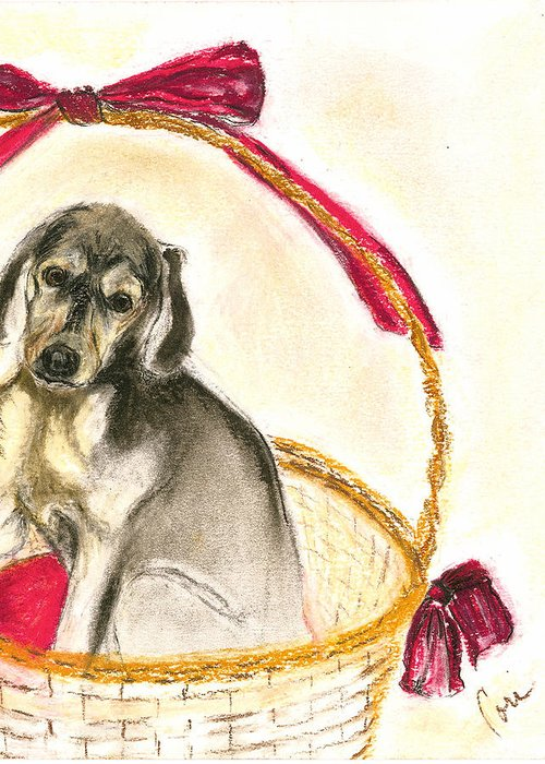Dog Greeting Card featuring the drawing Gift Basket by Cori Solomon