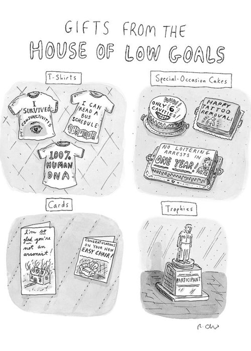 Gifts From The House Of Low Goals Greeting Card featuring the drawing Gifts From The House Of Low Goals by Roz Chast