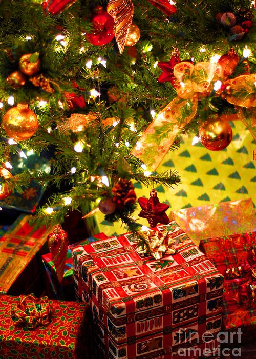 Christmas Greeting Card featuring the photograph Gifts Under Christmas Tree by Elena Elisseeva