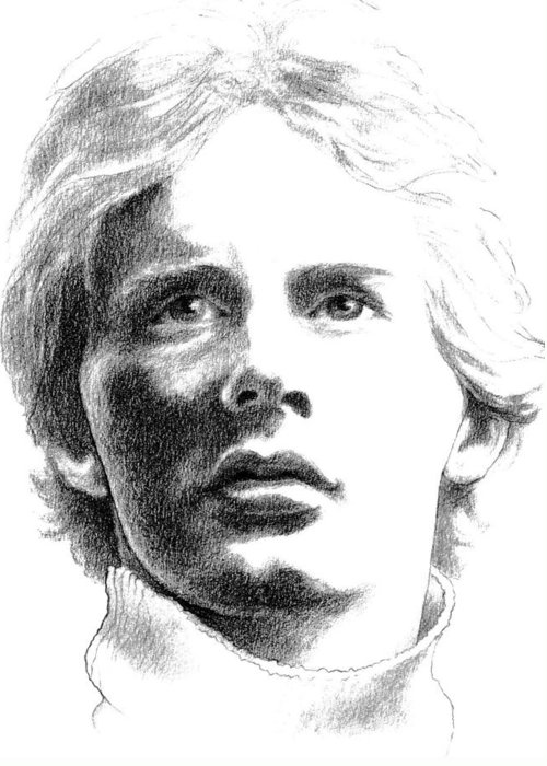 Formula 1 Car Racing Portrait Greeting Card featuring the drawing Gilles Villeneuve by Diane Fine