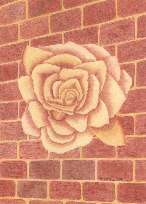 Rose Greeting Card featuring the drawing Ginger Rose by Dusty Reed