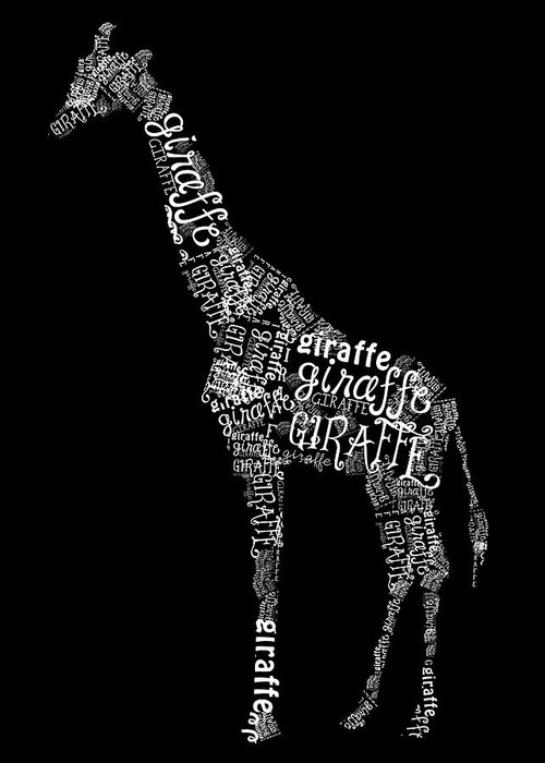 Graphic Greeting Card featuring the digital art Giraffe Is The Word by Heather Applegate
