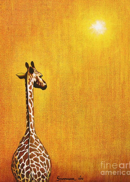 Giraffe Greeting Card featuring the painting Giraffe Looking Back by Jerome Stumphauzer
