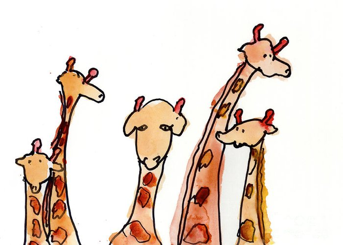 Giraffe Greeting Card featuring the painting Giraffes by Max Hutcheson Age Eleven