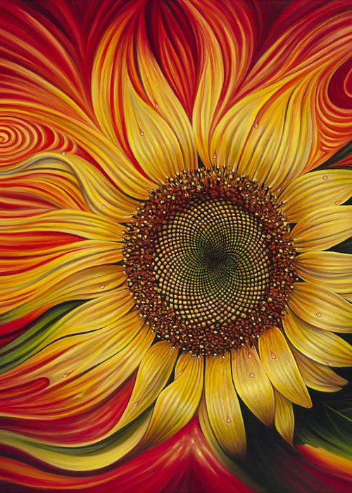 Sunflower Greeting Card featuring the painting Girasol Dinamico by Ricardo Chavez-Mendez