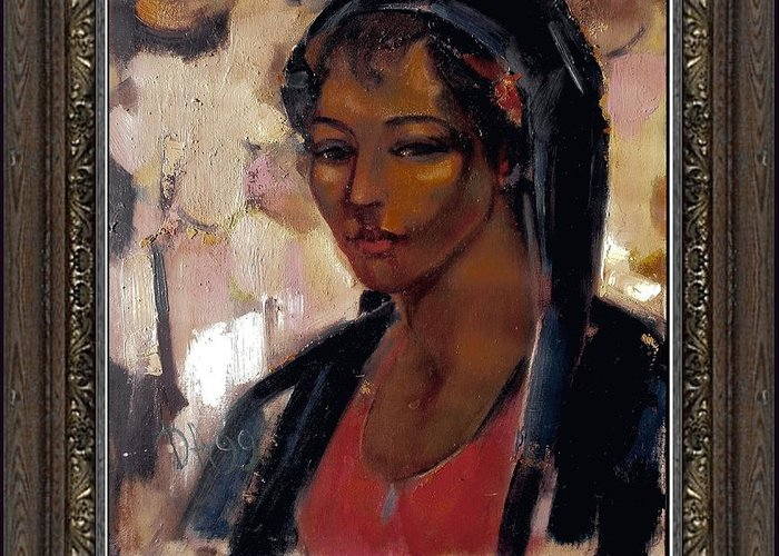 People Greeting Card featuring the painting Girl by   Danail Tsonev