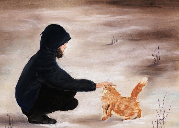 Malakhova Greeting Card featuring the painting Girl And A Cat by Anastasiya Malakhova