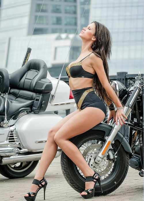 Girl Greeting Card featuring the photograph Girl And Motorcycles by Oleg Koryagin