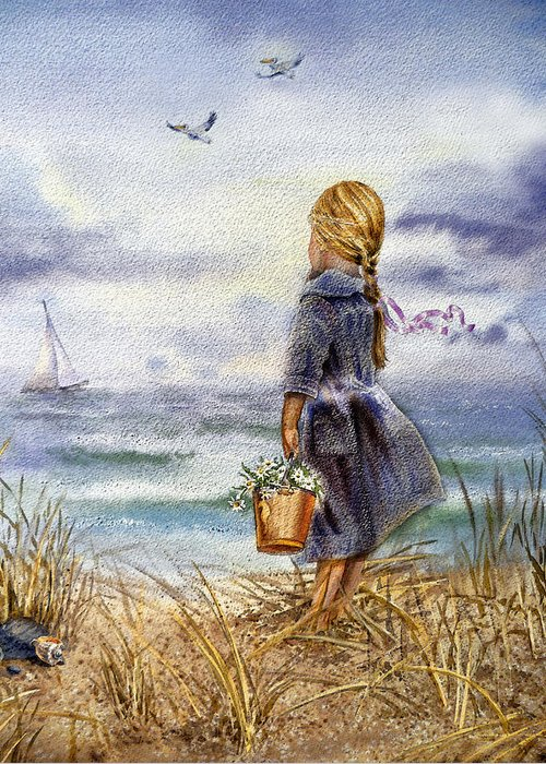 Girl Greeting Card featuring the painting Girl And The Ocean by Irina Sztukowski