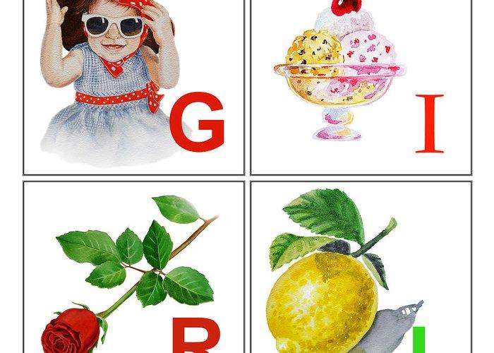 Alphabet Greeting Card featuring the painting Girl Art Alphabet For Kids Room by Irina Sztukowski