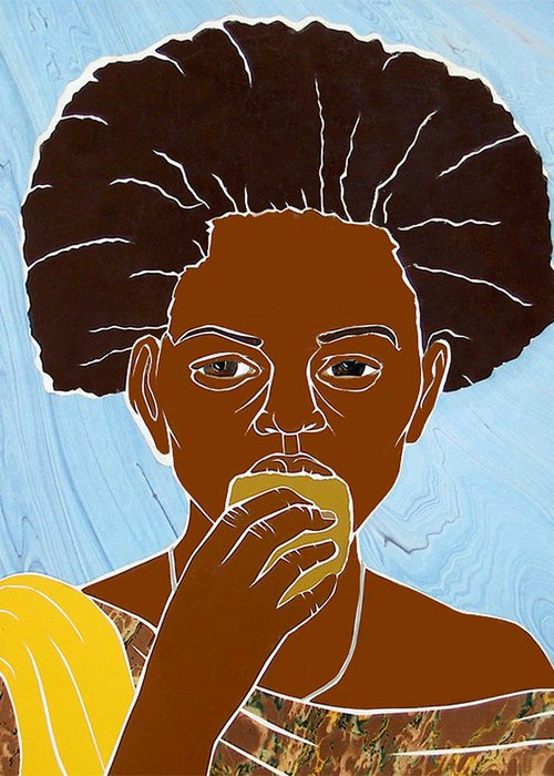 Girl Greeting Card featuring the mixed media Girl Eating Mango by Martha Rucker