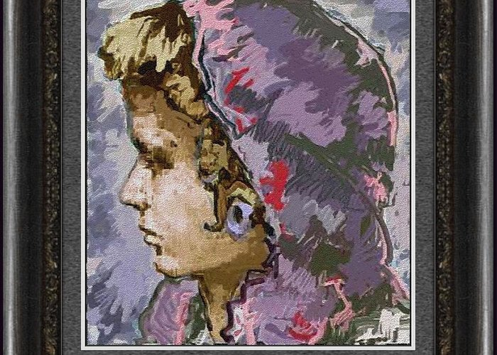 People Greeting Card featuring the painting Girl G2 by Pemaro