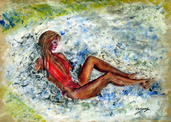 Girl Greeting Card featuring the painting Girl In A Red Swimsuit by Tom Conway