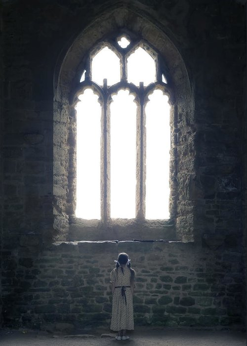 Girl Greeting Card featuring the photograph Girl In Chapel by Joana Kruse