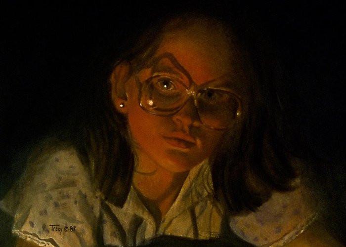 Girl Greeting Card featuring the painting Girl In Glasses In Candlelight by Robert Tracy