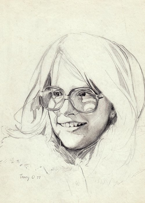 Girl Greeting Card featuring the drawing Girl In Glasses by Robert Tracy
