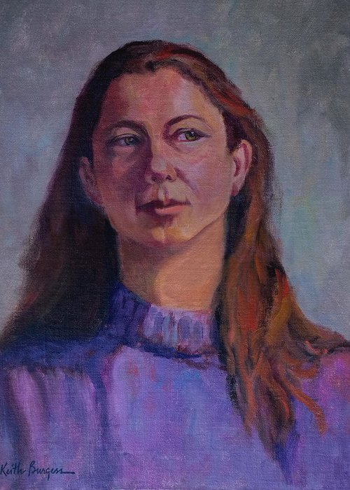 Portrait Greeting Card featuring the painting Girl In Purple by Keith Burgess