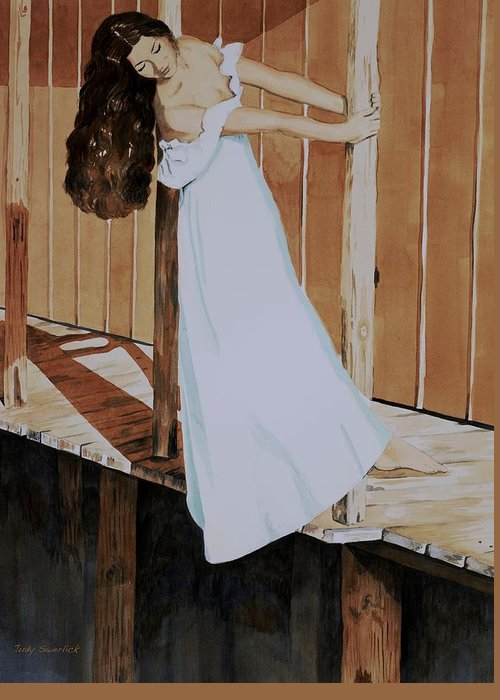 Girl On Dock Greeting Card featuring the painting Girl On Dock by Judy Swerlick