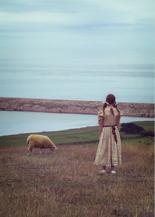 Girl Greeting Card featuring the photograph Girl With A Sheep by Joana Kruse