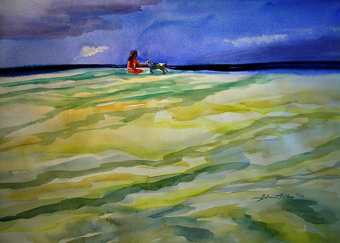 Impressionism Greeting Card featuring the painting Girl With Dog On The Beach by Julianne Felton
