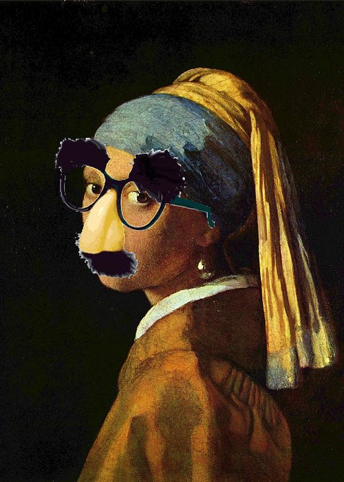 d3d5483f245 Girl With The Pearl Earring And Groucho Glasses Greeting Card for ...