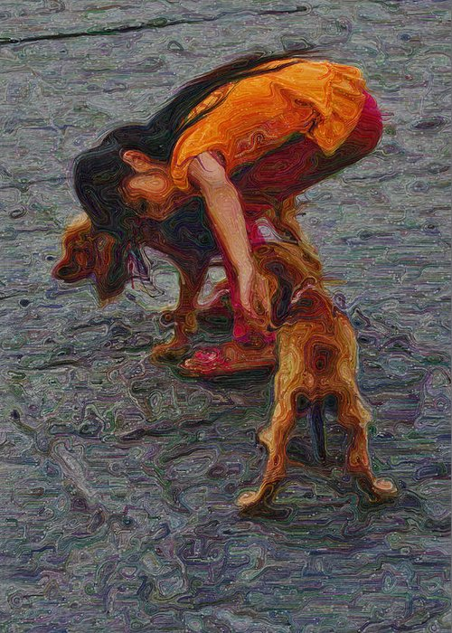 Girl With Two Dogs Greeting Card featuring the digital art Girl With Two Dogs by Mary Machare
