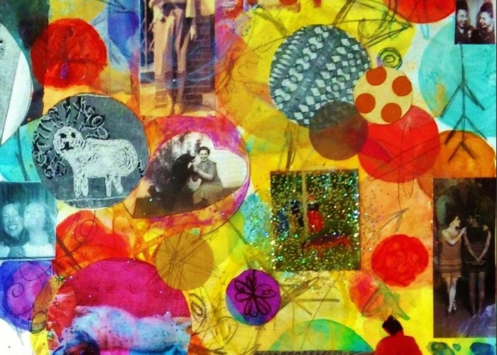Girlfriends Greeting Card featuring the mixed media Girlfriends And Dog Friends by Melinda Jones