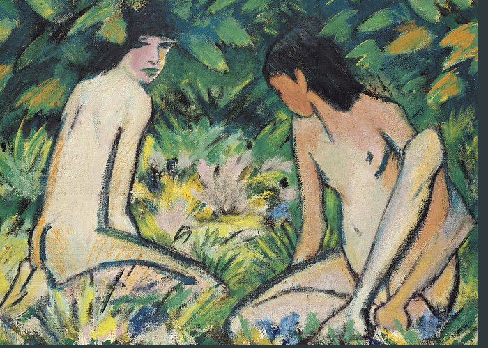 Girl Greeting Card featuring the painting Girls In The Open Air by Otto Mueller or Muller