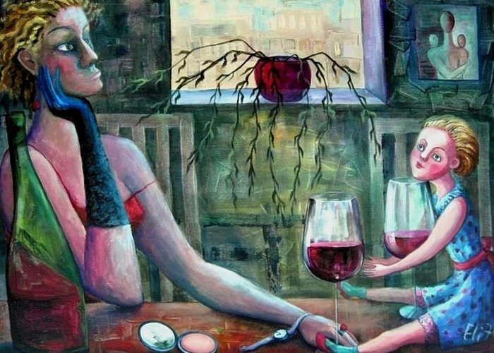 Woman Greeting Card featuring the painting Girls Party by Elisheva Nesis