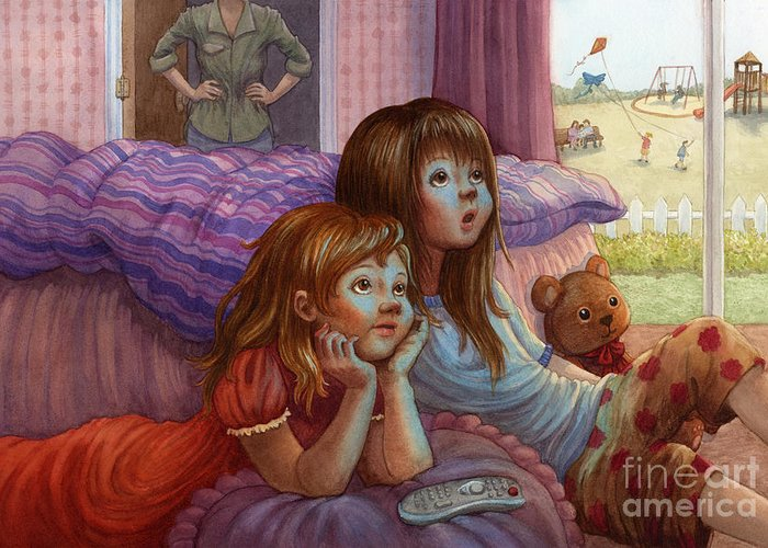 Girls Greeting Card featuring the painting Girls Staring At Tv by Isabella Kung