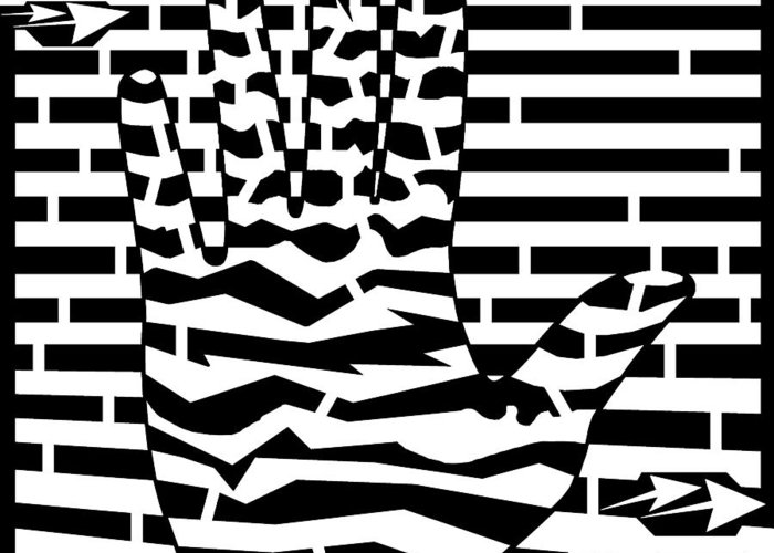 Spin Greeting Card featuring the drawing Give Me Five Maze by Yonatan Frimer Maze Artist