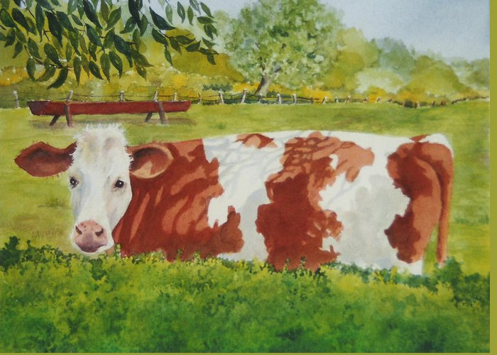 Cows Greeting Card featuring the painting Give Me Moooore Shade by Mary Ellen Mueller Legault