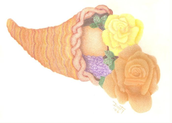 Rose Greeting Card featuring the drawing Give Thanks by Dusty Reed